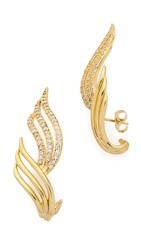 Joanna Laura Constantine Wing Crystal Earrings Gold Clear