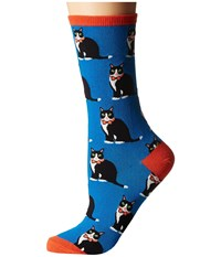 Socksmith Tuxedo Cats Blue Women's Crew Cut Socks Shoes