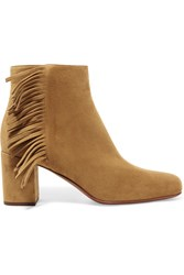 Saint Laurent Babies Fringed Suede Ankle Boots Tan