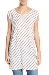 Women's Caslon Bias Stripe Tunic Ivory Grey Stripe
