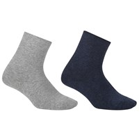 John Lewis Organic Cotton Blend Roll Top Ankle Socks Pack Of 2 Navy Grey