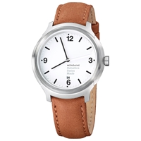 Mondaine Mh1b1210lg Unisex Helvetica No 1 Bold 43Mm Leather Strap Watch Brown White