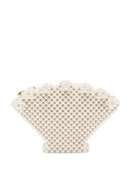 Shrimps Shell Faux Pearl Embellished Clutch Cream