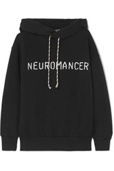 Aries Neuromancer Printed Cotton Jersey Hoodie Black