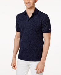 Tommy Hilfiger Men's Custom Fit Floral Polo Midnight