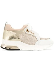 Liu Jo Panelled Ribbon Lace Sneakers Nude And Neutrals