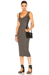 Enza Costa Rib Tank Dress In Green