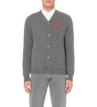 Comme Des Garcons Play Heart Logo Knitted Cardigan Grey