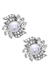 Nina Women's Crystal And Faux Pearl Floral Stud Earrings