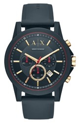 Armani Exchange Ax Outerbanks Chronograph Silicone Strap Watch 47Mm