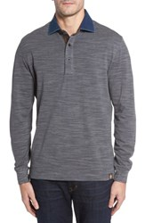 Thaddeus Men's Patton Space Dyed Long Sleeve Polo Graphite