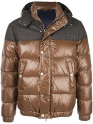 Eleventy Contrast Panel Hooded Down Jacket Brown