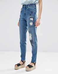 Waven Elsa Mom Jeans With Distressing And Patches Sev Blue
