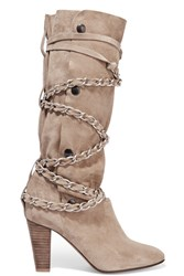 Isabel Marant Soono Chain Trimmed Suede Boots Beige