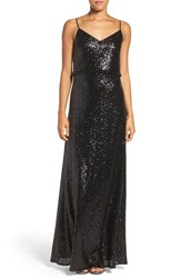 Jenny Yoo Women's 'Jules' Sequin Blouson Gown With Detachable Back Cowl Black