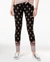 Hippie Rose Juniors' Ultra Soft Printed Leggings Red Black Boho Border