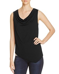 Three Dots Cowl Neck Asymmetric Mixed Knit Tank Granite Black