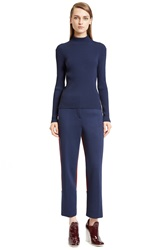 Cedric Charlier Rib Knit Mock Neck Top Blue
