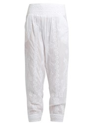 Juliet Dunn Sequin Embellished Embroidered Cotton Trousers White