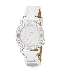 Fendi Timepieces Selleria Mother Of Pearl Stainless Steel And Leather Strap Chronograph Watch Silver White