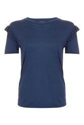 Topshop Frill Sleeve T Shirt Navy Blue