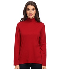 Pendleton L S Mock Neck Cotton Rib Tee Red Rock Women's Long Sleeve Pullover