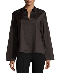 Vince Split Neck Spread Collar Poplin Top Black