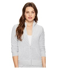 Juicy Couture Fairfax Velour Jacket Silver Lining Women's Coat Gray