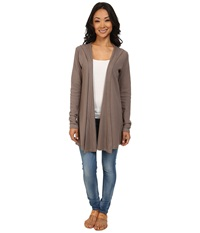 Allen Allen Hooded Open Cardigan Thermal Wrap Mushroom Women's Coat Gray