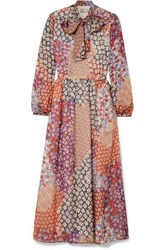 Paul And Joe Pussy Bow Floral Print Silk Chiffon Midi Dress Orange