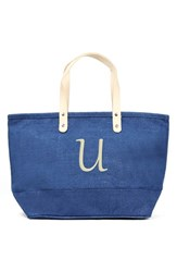 Cathy's Concepts 'Nantucket' Personalized Jute Tote Blue Blue U
