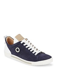 Alessandro Dell'acqua Perforated Leather Lace Up Sneakers Blue