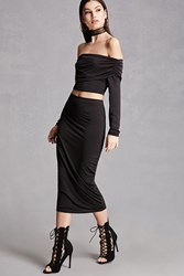 Forever 21 Midi Stretch Knit Skirt Black