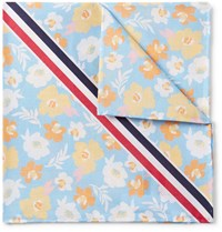 Thom Browne Striped Floral Print Cotton Pocket Square Blue