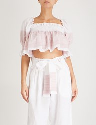 Gul Hurgel Ruffled Linen And Cotton Blend Cropped Top Red Stripe