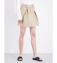 Sandro Buckled A Line Cotton Twill Skirt Sand