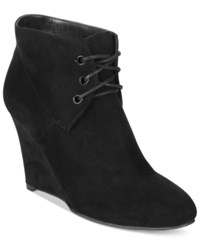 Thalia Sodi Noa Wedge Booties Only At Macy's Women's Shoes Black Micro Suede
