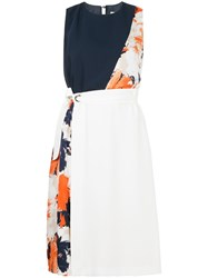 Guild Prime Floral Colour Block Flared Dress White