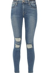 Frame Le High Skinny Distressed Jeans Blue