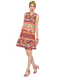 Dolce And Gabbana Floral Cotton Crepe Dress W Ruffled Hem