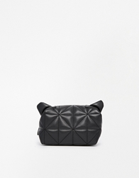 Asos Cat Ears Make Up Bag In Quilt Black