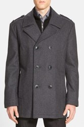 Andrew Marc New York 'Joshua' Double Breasted Wool Blend Peacoat With Inset Bib Gray