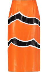 Missoni Embroidered Lame Midi Skirt Bright Orange