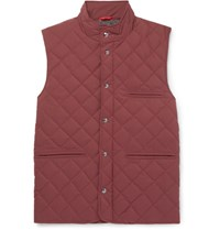 Isaia Quilted Wool Blend Gilet Burgundy