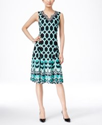 Jm Collection Sleeveless Split Neck Dress Only At Macy's Green Black