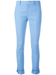 Gucci Ruffle Detail Slim Fit Trousers Blue
