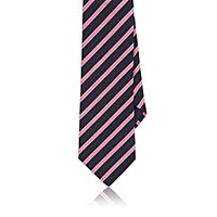 Barneys New York Men's Diagonal Striped Twill Necktie Navy