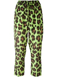 Blugirl Leopard Print Cropped Trousers Green