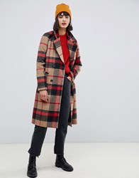 Pieces Double Breasted Check Coat Multi