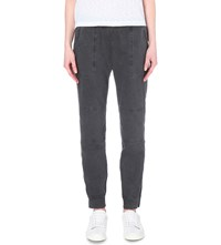 James Perse Slim Fit Tapered Stretch Twill Trousers Carbon